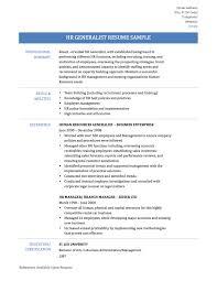 Formidable Human Resource Resume Sample On Hr Generalist Resources