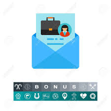 A Vector Icon Of Envelope With Cover Letter Resume Career
