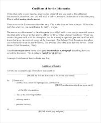 Resume Responsibilities Certificate Of Service Sample Doc Resume