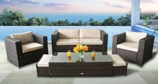 outdoor conversation set brown rattan patio furniture 6pcs sectional sofa set cream waterproof cushioned w free patio cover 2 footrests can be d away