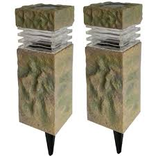 Pillar Solar Lights For Outdoors Hampton Bay Solar Sand Stone Outdoor Integrated Led
