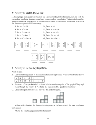 mesmerizing algebra ii quadratic equations matching activity answers also grade 9 mathematics unit 2 quadratic