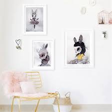 >poster and prints nordic decoration nursery wall art canvas painting  poster and prints nordic decoration nursery wall art canvas painting baby room beautiful rabbit art print wall pictures in painting calligraphy from