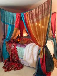 Boho Bed curtains Moroccan Dream Gypsy Bed Canopy by | Etsy