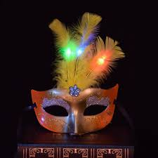 Mask Decorating Supplies 60pcslot Multi Color Halloween LED Feather Mask Party Flash Mask 2