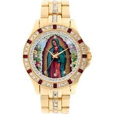 elgin men s lady of guadalupe graphic dial crystal accented gold elgin men s lady of guadalupe graphic dial crystal accented gold tone watch