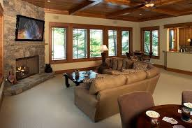 corner stone fireplace living room contemporary with modern side tables and end
