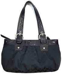 Coach Signature Soho Pleated Black Monogram Handbag Tote H1075-F13742 Used