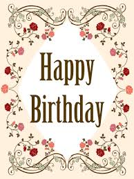 Elegant Birthday Flower Frame Card Birthday Greeting Cards By Davia