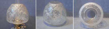 etched glass oil lamp shade os121
