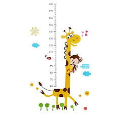 Monkey Growth Chart Wall Rainbow Fox Monkey Climbing On Giraffe Growth Chart Wall