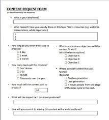 Content Creation Request Form Matrix Marketing Plan