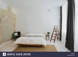 Minimalistischen Skandinavischen Design Schlafzimmer Stockfoto Bild