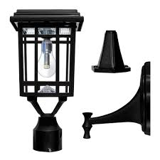 gama sonic prairie bulb single black integrated led outdoor solar post light with 3 mounting