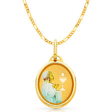 ioka 14k yellow gold communion boy charm pendant with 1 8mm singapore chain necklace com