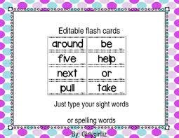 Editable Flash Cards Template By Girlygirlliz Teachers Pay Teachers