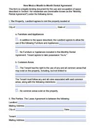 New Mexico Rental Agreement Gallery - Agreement Letter Sample Format