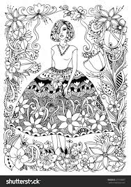 Girl Holding Flower Zentangle In Lush