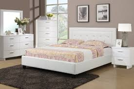 F9247 Bedroom Set by Boss in White w/Leatherette Upholstered Bed
