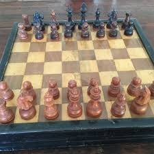 antique chess set in wooden box with game of checkers england circa 1890