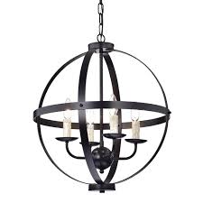 4 candle light oil rubbed bronze globe sphere cage chandelier ceiling fixture