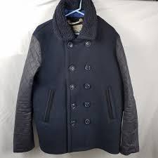 premium peacoat vintage superdry jacket mens large heavyweight wool just for you dark blue