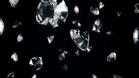 Animazione Astratta Dei Diamanti Di Caduta Al Rallentatore Su Un