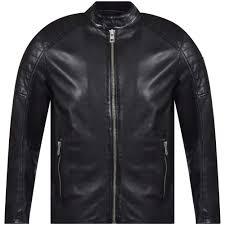 black slim fit lightly waxed leather jacket