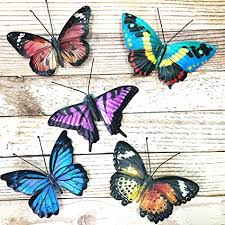 Liffy metal butterfly wall decor outdoor indoor metal wall art butterfly hanging decorations metal and glass garden theme home decorations for garden living room bedroom (black) 4.8 out of 5 stars 112. Amazon Com Vokproof Metal Butterfly Wall Decor 5 Pack Butterflies Art Decorations For Outdoor Garden Patio Fence Garden Outdoor