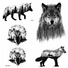 сексуальная лес волк временные татуировки для мужчин сексуальные наклейки