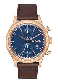 men s watches nixon watches and premium accessories station chrono leather rose gold slate dark brown