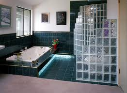 pittsburgh corning decora glass blocks are used as a privacy wall in the forefront of this