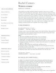 Resume For A Waiter Restaurant Waitress Resume Sample Resume Waiter