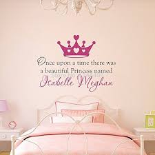 custom made once upon a time personalized name princess crown wall decal wall stickers quotes art nursery vinyl kids decor you choose name and color on custom vinyl wall art stickers with personalized wall decals amazon
