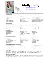 Resume Template Sample Musical Theatre Resume Free Career Resume
