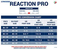 Cressi Reaction Fins Size Chart Cressi Reaction Pro Black 44 45