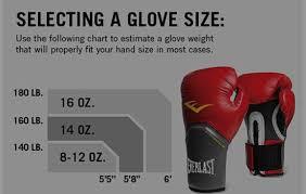 Boxing Glove Size Chart Everlast Velcro Pro Style Training Gloves