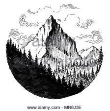 Di Montagna E Boschi Linchiostro Bianco E Nero Disegno Foto