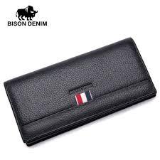 bison denim fashion men wallets genuine leather long slim bifold wallet holder purse black leather wallet mens front pocket wallet from juiccy