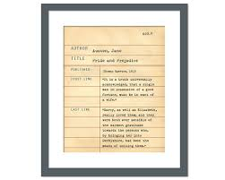 pride and prejudice by jane austen library card art print like this item