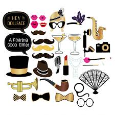 32 pcs roaring 1920s photo booth props kit photobooth prop card party backdrop decorations selfie props
