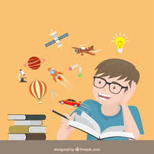 reading open book cartoon happy children reading a imaginative book vector of reading open book cartoon