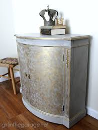 gold painted furnitureGold and Gray Cabinet Metallic Themed Furniture Makeover  Girl