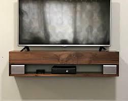 Solid Walnut Tv Console, Walnut Floating TV Console, walnut TV Stand, floating  tv