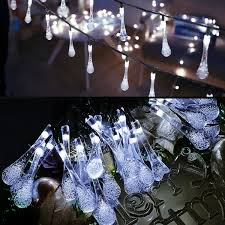 Manor Lane Outdoor Solar String Lights Kumeda Solar String Lights 20 Feet 30 Leds Waterdrop Starry String Lights For Outdoor Wedding Decorations Gardens Homes Dancing Christmas Party