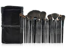 32 pcs professional makeup brush set kit black rod cosmetic case