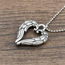 dropwow angel wing pendant necklace for men double sided loved heart shape wings necklace sanlan jewelry