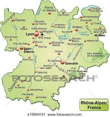 Rhone Size Chart Map Of Rhone Alpes Clipart K19944751 Fotosearch