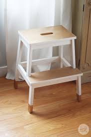 Kitchen stool, but could store in corner of dining room. diy painted stool,  dipped furniture look