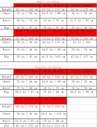 Red Carter Size Chart Size Chart